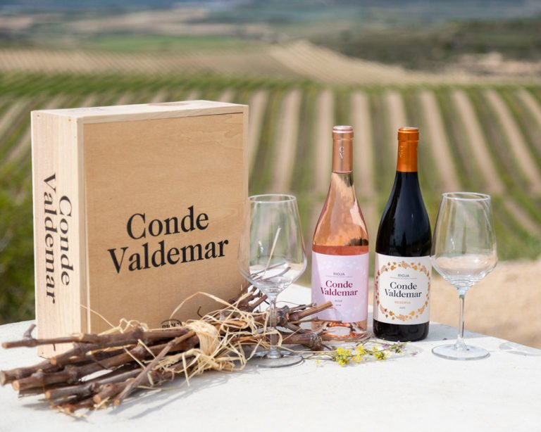 Vinos de Bodegas Valdemar en pic nic en viñedo