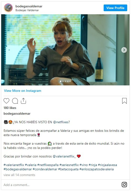 Instagram Bodegas Valdemar y Valeria